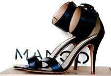 MANGO FETISH LEATHER SANDALS BLACK SIZES UK 6, 7 & 8 NEW TAGS