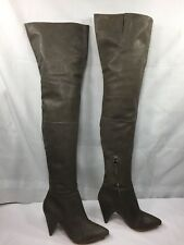 Loeffler Randal Marilyn Over the Knee Thigh high Gray Leather Boot Hidden Zip  7