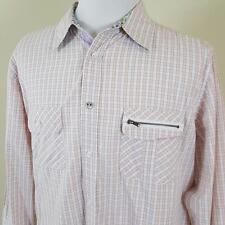 English Laundry Lions Crest Flip Cuff Shirt Mens sz XL Check w/ Floral Trim