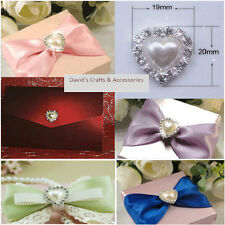 10X DELUXE HEART PEARL GRADE A  DIAMANTE RHINESTONE CLUSTER /WEDDING/CARDS