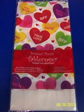 Valentine Candy Hearts Cute Valentine's Day Party Decoration Plastic Tablecover