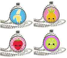 KAWAII HAPPY FRUITS Cute Food Glass Circle Round Photo Charm Pendant Accessory