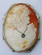 """Antique Huge14k """"the best"""" Bacchante Filigree Cameo Diamond Necklace Brooch Pin"""