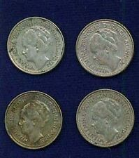 NETHERLANDS 10 CENTS SILVER COINS: 1926,1927,1928, 1930