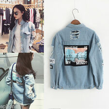 Vintage Women Holes Boyfriend Jeans Coats Letter Print Denim Oversized Jacket