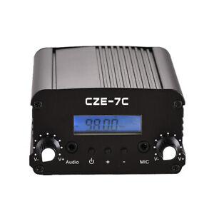 CZE-7C FM Transmitter 7W 1W Mini Radio Stereo Station PLL LCD Black with Antenna