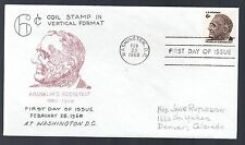 1305 - Roosevelt 6-cent coil stamp, First Day cover, Virgil Crow cachet