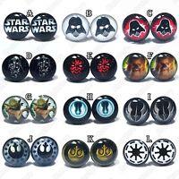 STAR WARS Stainless Steel Stud Earrings Pair - Mens Womens - Darth Vader Yoda