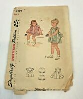 Vintage Girl's Dress Pattern Frock Bloomers Size 1 Simplicity Pleated Tie Back