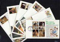 1994 Norman Rockwell Sc 2839 2840 single & sheet FDCs Fleetwood cachets