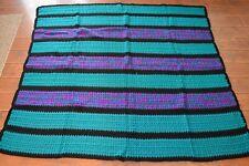 HANDMADE AFGHAN CROCHETED COLORFUL THROW BLANKET,PURPLE,AQUA BLUE 58 X 69 NEW