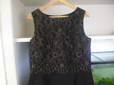 MONSOON FUSION BLACK GOLD LACE TOP OVERLAY SHIFT DRESS - SIZE 14