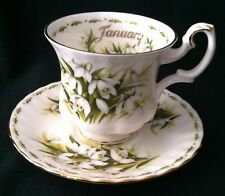 ROYAL ALBERT BONE CHINA SNOWDROPS FLOWER OF THE MONTH SERIES JANUARY ENGLAND