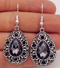 925 Silver Plated Hook -2'' Bohemia Waterdrop Crystal Flower Hollow Earrings #17