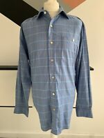 ORVIS Shirt Size Large BLUE | Check Long Sleeve Smart Casual Mens
