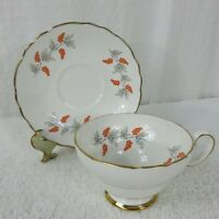 Vintage Crown Staffordshire Orange Grapevines Bone China Footed Cup & Saucer Set
