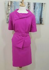 EMILY Women 2PC Hot Pink Short Sleeve Skirt Suit Size 14W