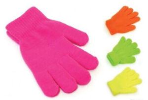 KIDS NEON Magic Gloves Winter Warm Girls Boys Stretch Soft Children Unisex