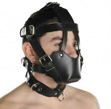 Strict Leather Face Harness - Black, Adjustable Padded Muzzle, Buckled Straps