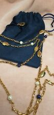 Tory Burch 18k Gold Plated Pearl Navy Beaded Long Necklace