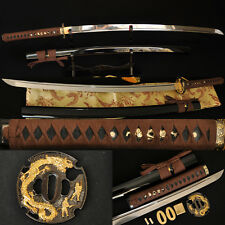 Real Sword Katana Japanese Samurai  Dragon Tsuba Sharp Can Cut Bamboos Full Tang
