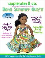 "American Girl Doll Sewing Pattern - Boho Summer Outfit Pattern for 18"" Dolls"