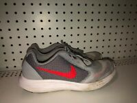 Nike Revolution 3 GS Boys Youth Athletic Shoes Size 4.5Y Gray Red Black