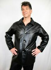 EA COLLECTION ITALY STYLE MENS BLACK FAUX LEATHER JACKET- NEW-SIZE EXTRA LARGE