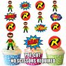 PRE-CUT Superhero Robin Edible Cup Cake Toppers Party Decorations (Pack of 12)