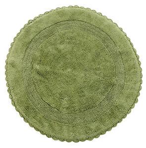 Bath Rug Cotton 36 Inch Round, Reversible, Sage Green, Crochet Lace Border