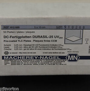 Chromatography Pre Coated TLC Plates 5 x 10cm Box of 50 Durasil 25 0.25mm UV