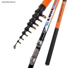 Hard Orange Fishing Rod Carbon Fibers Telescopic Rockies Pole Spinning Metal Rin