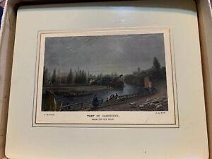 antique tea tray-View Of Cambridge, 1800s postcard by F. Mackenzie/J. Le Keux