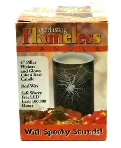 """Vtg 4"""" Everlasting Flameless Candle with Spooky Sounds Halloween Tested (G23F)"""