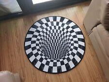 🔥Round Black White Grid 3D Illusion Vortex Bottomless Hole Carpet Non-Slip Mat