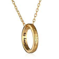 Gold Tone mi corazón Grabado Te Amo Anillo Colgante Collar