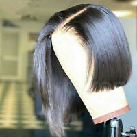 Glueless Short Bob Full Wig Indian Remy Human Hair Lace Front Wigs Baby Hair P94