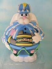 "Easter Bunny Glass Decor Rabbit W/Baseball Hat Collectible 6.5"" Tall New In Box"