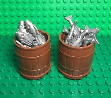 Lego New Large Barrel X2 And Flat Silver Gray Fish X30 / Fisherman Ship / Boat