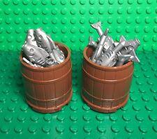 Lego New Large Barrel X2 And Flat Silver Gray Fish X30 / Fisherman Ship / Boat