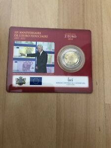 "LUXEMBURG 2012 2 EURO COINCARD 100% ORIGINAL ""10 JAHRE BARGELD"""