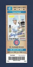 Billy Williams signed 2012 unused Chicago Cubs baseball picture ticket