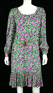 OSCAR DE LA RENTA Vintage Multicolor Floral Print Silk Belted Dress 14