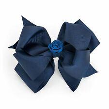 Girls Ladies Large Navy Blue Hair Bow Hair Clip