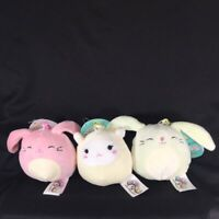 """Squishmallows Clip On Keychains 3.5"""" Bunnies & Lamb (Set Of 3) Easter"""