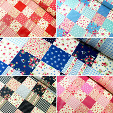 100% Cotton Poplin Fabric Rose & Hubble Floral Patchwork Polka Dots