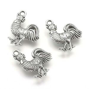 Hen Charms Cock Cockerel Rooster Tibetan Silver Pendant Pack of 10