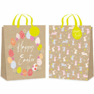 Kraft Gift Bag Easter Medium - Wrapping Ribbon Gift Tag Present Eggs Party Bag