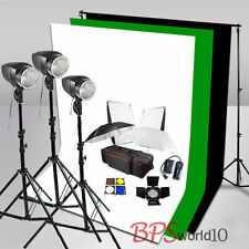 540W Flash Lighting Kit White Black Green Muslin Backdrop Background Stand Earth