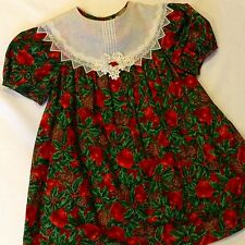 Vintage Bonnie Jean Girl Sz 6 Christmas Dress~Red Green Apple Print~Lace Collar